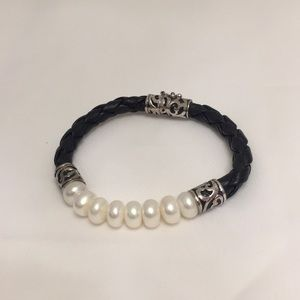 Honora braided leather and pearl bracelet